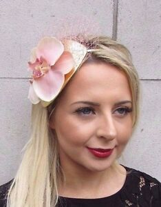 e21cb2aed100a Peach Blush Pink Gold Orchid Flower Fascinator Net Hair Headband ...