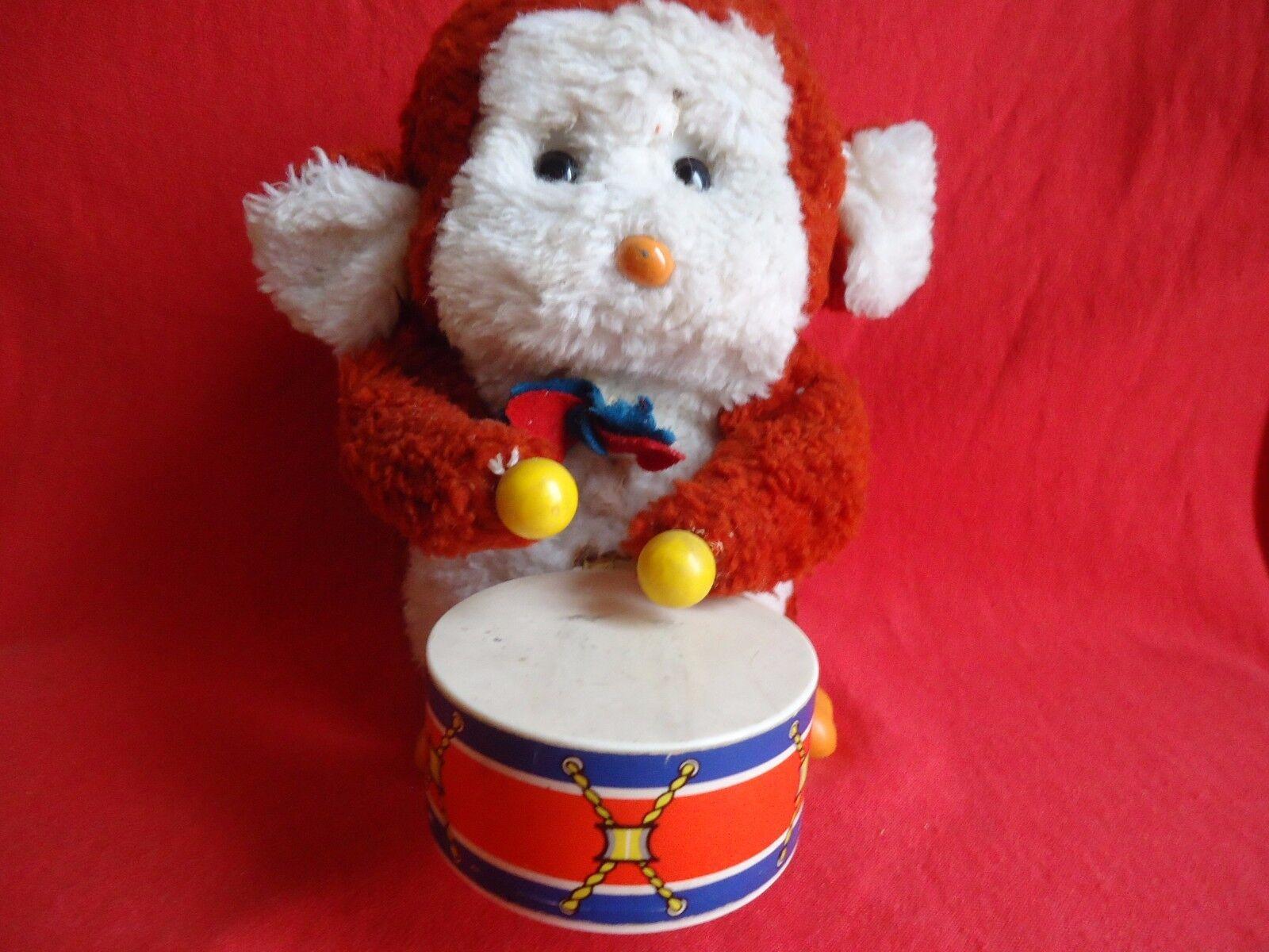 Vintage Mono tocando los tambores con Pilas Juguete-Japón probado y funciona