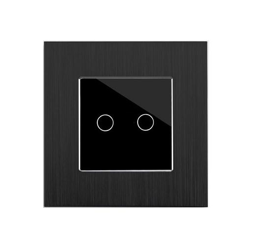 Alu Touch Rolladenschalter Jalousieschalter  2 Fach Point  schwarz schwarz LUX | Qualität Produkt