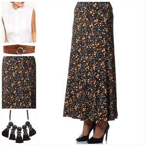 EVANS-Womens-Long-Floral-Summer-Maxi-Skirt-Black-Org-Stretch-NEW-Plus-Size-18-30