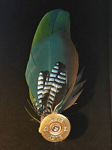 Country cartridge brooch BLUE parrot JAY DOWNTON style feather tweed hat pin #32
