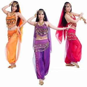 Arab-Belly-Dance-Halloween-Carnival-Costume-Veil-Top-Scarf-Pants-Fancy-Outfit-UK