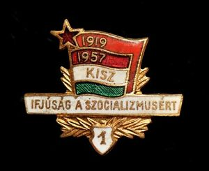 Hungarian-Young-Communist-League-KISZ-1st-Rank-Pin-Badge