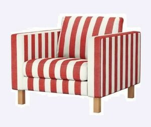 Image Is Loading Ikea Karlstad Standard Armchair Rannebo Red White Stripe