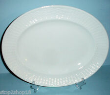 "Wedgwood Nantucket Basket Weave Oval Serving Platter 14"" White NEW"