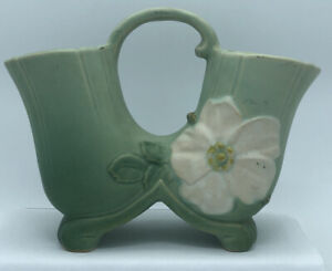 Antique WellerGreen Dogwood Double Vase Signed Footed Vase handle W35