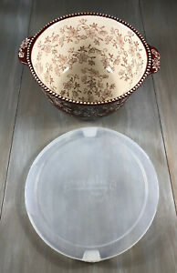 TEMP-TATIONS by Tara Presentable Ovenware Brown Floral Lace 2.5 Qt Serving Bowl