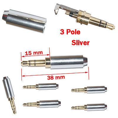 5pcs Sliver 3 Pole 3.5mm Male Repair headphone Jack Plug Metal Audio Soldering
