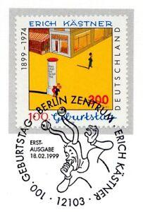 Rfa 1999: Erich Kästner Nº 2035 Avec De Berlin Ersttags-cachet Spécial! 1a! 1701-rstempel! 1a! 1701afficher Le Titre D'origine