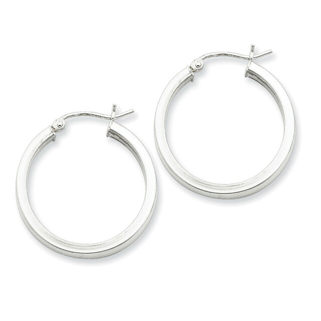 Sterling Silver Rhodium-plated Square Tube Hoop Earrings QE4521