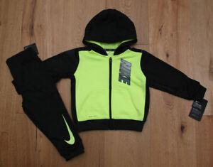 507ac4c3b Nike Baby Boy 2 Piece Jogging Set ~ Black & Volt ~ Therma DRI-FIT ...