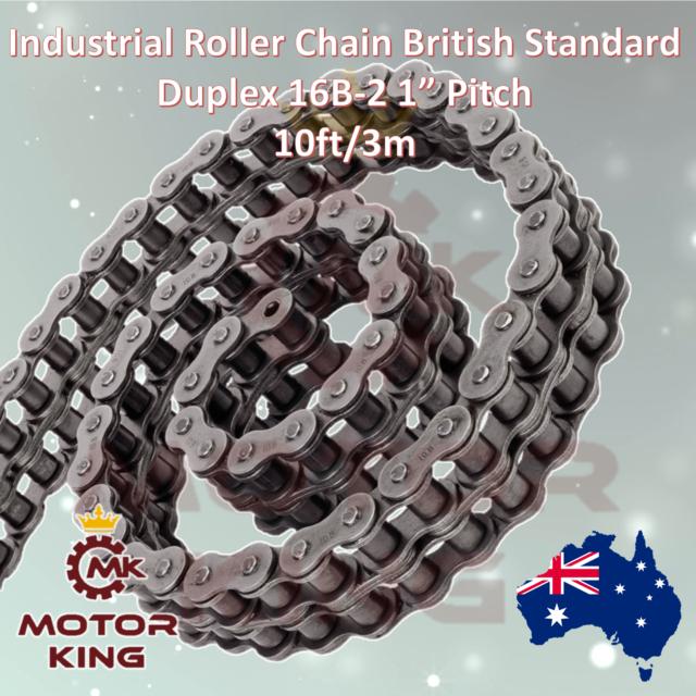 """Duplex Industrial British Standard Roller Chain 16B-2 1"""" Inch Pitch 10ft/3m Box"""