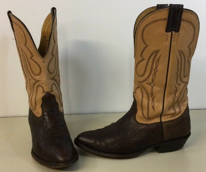 Nocona Western Boots Men 9.5 D Brown W  Tan Top Full Grain Leather Nice Made USA