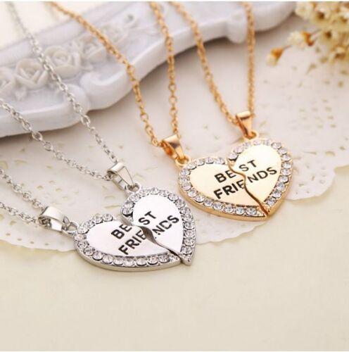 Cute Best Friend Chain Break Heart Pendant BFF Friendship Necklace Charms Gift