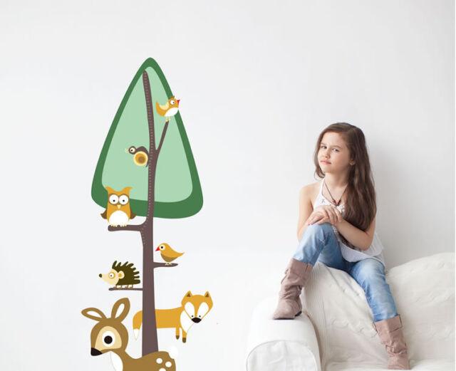 Forest Animals Wall Stickers Vinyl Decal Removable Art Kids Fox Deer Owl Mural