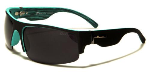 Designer Semi-Rimless Large Wrap Sports Sunglasses Ladies Mens Black Boys