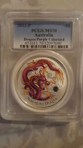 PCGS-MS70-2012-Australia-YEAR-OF-THE-DRAGON-Purple-Colorized-Lunar-1-Silver-1oz