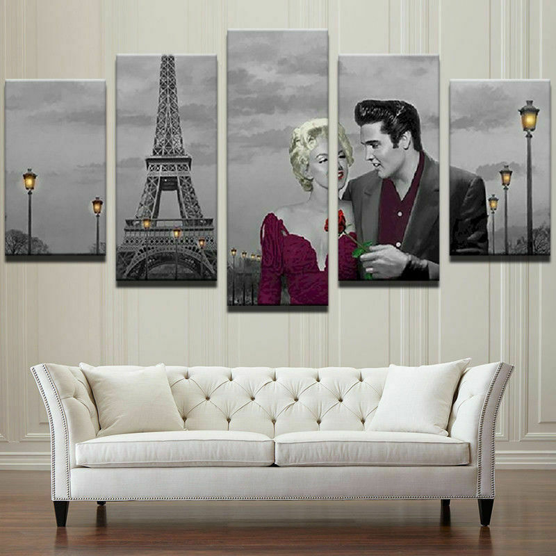 Framed Elvis Monroe Paris Five Piece Canvas Multi Panel Home Decor Art