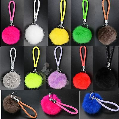 Charm Genuine Soft Rabbit Fur Ball Pompom  Braided Leather PU Keychain Key Ring