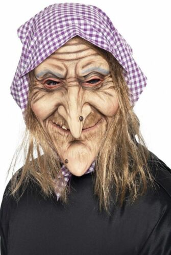 Adult Old Witch Latex Mask Fancy Dress Halloween Fairytale Costume