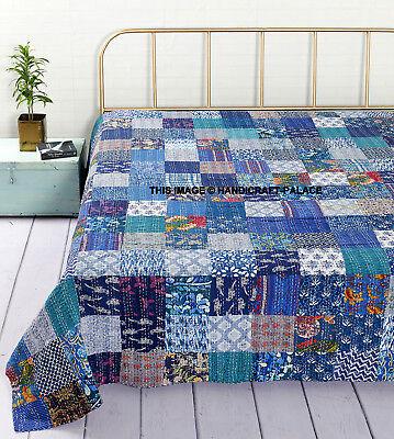 Indian Handmade Quilt Vintage Kantha Bedspread Throw Cotton Blanket Queen Gudri