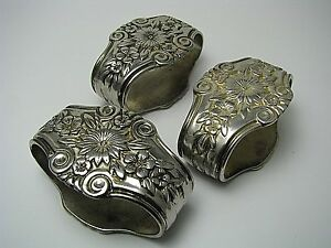 Image is loading SET-of-3-SILVERPLATE-SILVER-PLATED-NAPKIN-RINGS- & SET of 3 SILVERPLATE SILVER PLATED NAPKIN RINGS NAPKIN HOLDERS ...