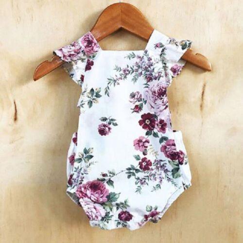 Newborn Infant Kids Baby Girls Romper Bodysuit Jumpsuit Clothes Sunsuit Outfits