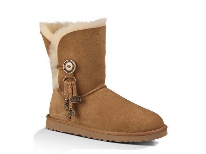 NOUVEAU bottes UGG Azalea Charms en peau de mouton 7 véritable NIB pour femme, châtain brun clair