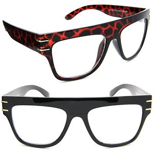 Flat Top Oversized Eyeglasses Thick Rectangular Frame ...