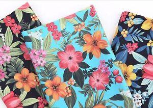 Hawaiian-bright-flower-100-Cotton-fabric-BY-HALF-YARD-floral-Quilting-JC6-25