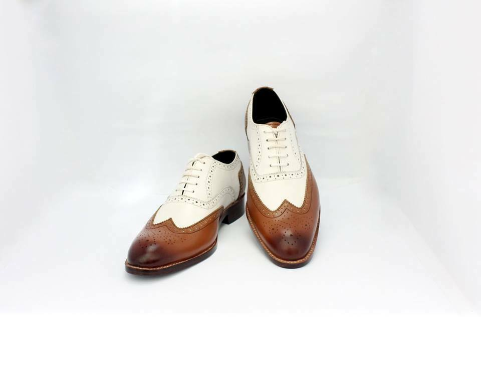 DOUBLE TONE MENS OCFORD SHOES WHITE AND BROWN