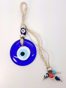 ROUND BLUE GLASS EVIL EYE NAZAR BONCUGU HANGING PROTECTION