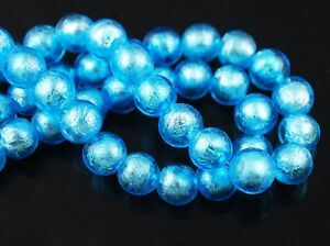 10pc-10mm-Lake-Blue-Round-Silver-Foil-Loose-Spacer-Lampwork-Glass-Beads-Craft