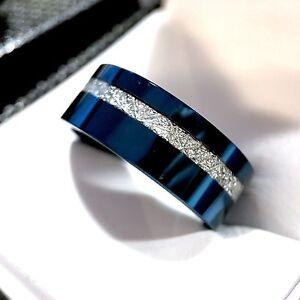 Image Is Loading Blue Tungsten Meteorite Ring Women Wedding