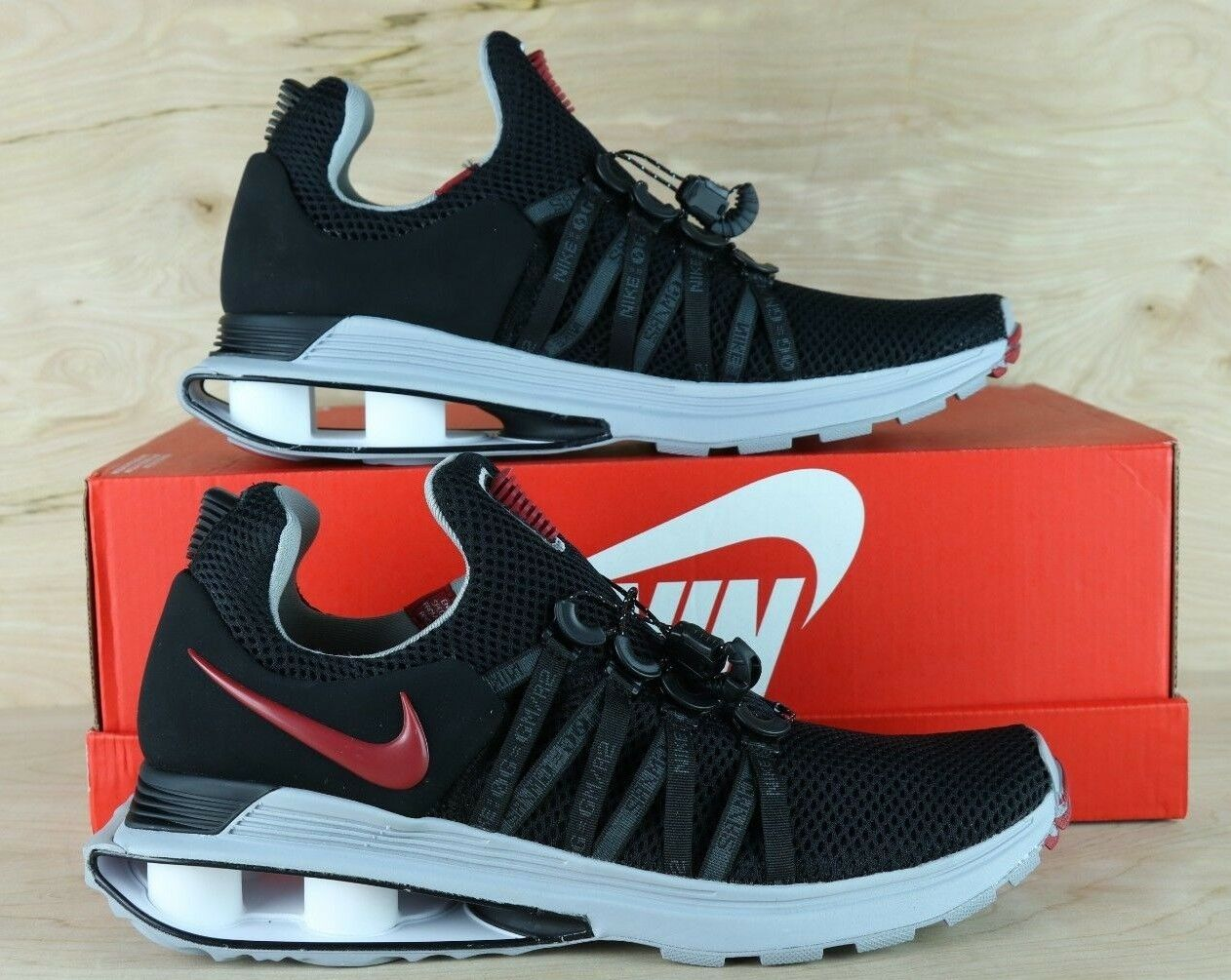 huge selection of edac8 5ccec Nike SHOX Gravity Mens Running shoes shoes shoes Black Varsity Red AR1999  016   Multi Size