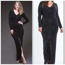 Plus Size NYE Black & Gold Glitter Long Sleeve Maxi Dress, 2XL, 14/16