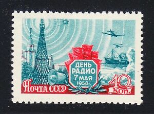 Russia-1958-MNH-Sc-2063-Mi-2082-Radio-Day-Ship-North-Pole-Sputnik-University