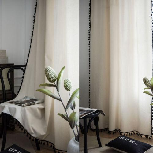1 PC Boho Tassles Curtain Living Room Cotton Linen Sheer Curtians Bedroom Window
