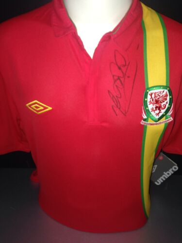 Signed Mark Hughes Retro Wales Home Shirt
