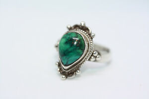 Vintage-Mexican-Real-925-Sterling-Silver-3-CT-Pear-Malachite-Women-039-s-Ring-Sz-6