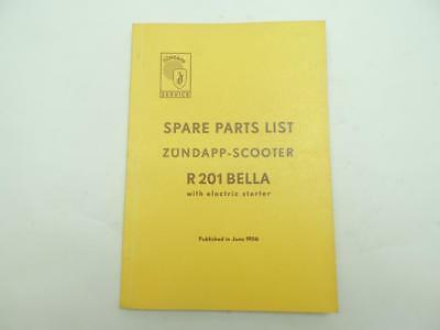 June 1956 Zundapp R201 Bella Scooter Electric Start Parts List Book Manual W6445