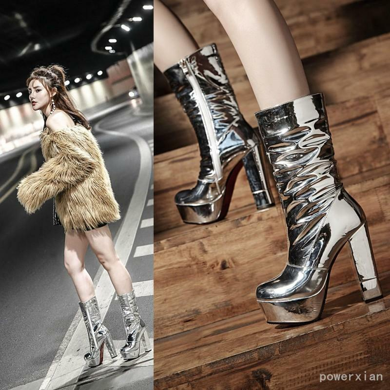 Shiny Silver Platform Block Heels Womens Ankle Boots Warm Lining Shoes ALL US Sz