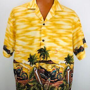 Vintage-KY-039-s-Hawaiian-Aloha-Shirt-Motorcycles-Surfboards-Palm-Trees-Beach-XL-USA