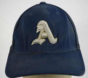 A Arsenal Mesh Navy Blue Baseball Hat Cap Fitted Stretch S M 6 7 8 ... 97ad5e98d44