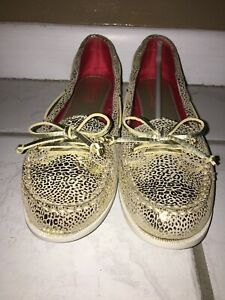 Sperry Top-sider Youth Girls Slip-On Audrey Champagne/Leopard size 5M