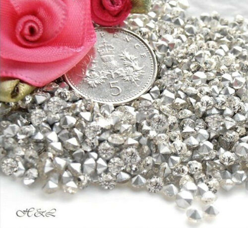*90 Czech CLEAR Glass 3.5mm CRYSTAL ss14 Pointback Brilliants CHATONS Vintage SF
