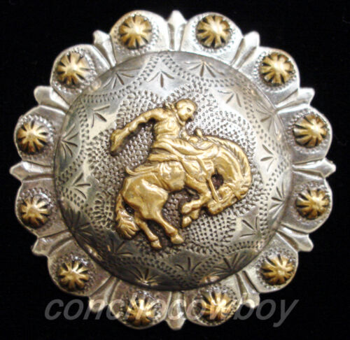 "WESTERN HORSE TACK GOLD BRONC RIDER BERRY SADDLE CONCHO SIZE 2-3//8/"" screw back"