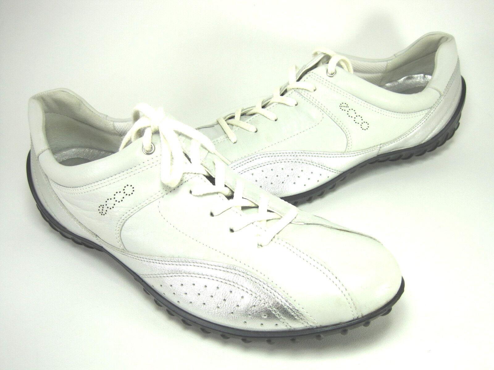 ECCO WMN'S WMN'S WMN'S CHARM TIE WALKING Turnschuhe Weiß Silber LEATHER EUR SZ 43 US 12-12.5 M 706ec6