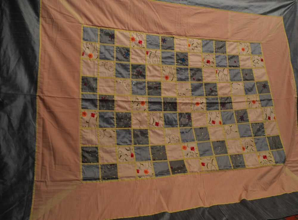 Quilt, All silk. Blau and cream lavander patchwork hand made in Rajasthan, India