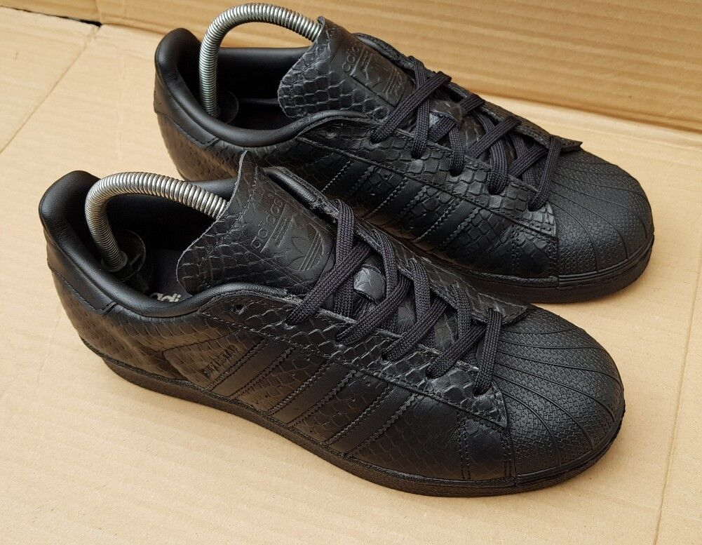ADIDAS SUPERSTAR 5 TRAINERS SIZE 5 SUPERSTAR UK TRIPLE BLACK REPTILE SKIN EXCELLENT COND aed9a6